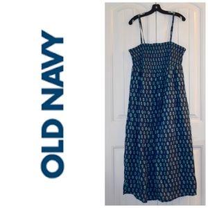 Old Navy Blue Cotton / Linen Maxi Dress Size 2X